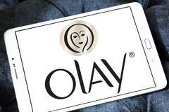 Olay logo. Logo of beauty and cosmetics company olay on samsung tablet stock images