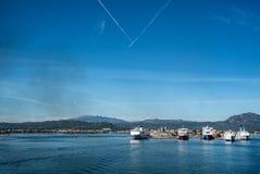 OLBIA, porto da ilha do céu da balsa de ITÁLIA imagens de stock royalty free