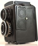 Olc camera made in USSR that has been isolated with white background stock image