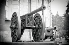 Olc cannons in Moscow Kremlin. UNESCO World Heritage Site. Royalty Free Stock Images