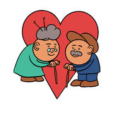 Olc couple love. An old couple in front of a heart Stock Illustration