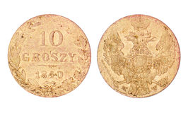 Old 10 Groszy Coin of Poland. 1840 Stock Images