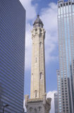 Old 1869 Chicago Water Tower on Michigan Avenue, Chicago, IL Royalty Free Stock Images