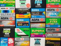 Old 35 Mm Photo Film Boxes Collection Royalty Free Stock Photos