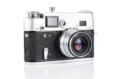 Old 35 mm rangefinder camera. Isolated over white Royalty Free Stock Photography