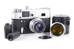 Old 35 mm rangefinder camera. With extra lens isolated over white Stock Photo