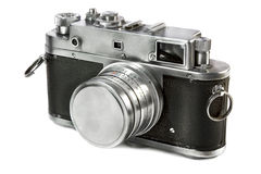 Old 35mm camera. Old 35mm rangefinder metal camera on white background stock photo