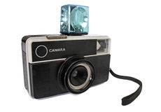 Old 35mm camera. Retro revival image. With clipping path royalty free stock photos