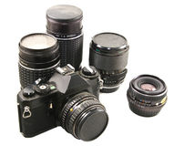Old 35mm film camera & lenses Stock Photos