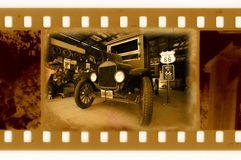 Old 35mm film with retro american car Royalty Free Stock Photos
