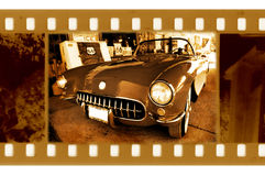 Old 35mm frame photo. With american retro car stock photography