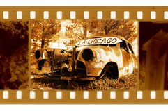 Old 35mm frame photo. With american retro car in point road 66 stock photography