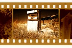 Old 35mm frame photo with american gas station Royalty Free Stock Photos