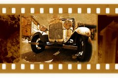 Old 35mm frame photo with car. Old 35mm frame photo with vintage car Royalty Free Stock Photo