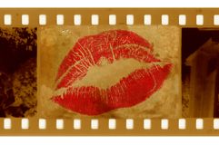 Old 35mm frame photo with lips Stock Image