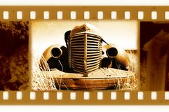 Old 35mm frame photo with retro car Stock Photo