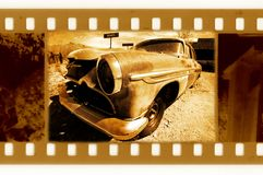 Old 35mm frame photo with retro car Royalty Free Stock Image