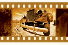 Old 35mm frame photo with retro truck Stock Image