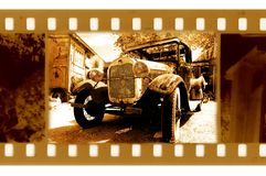 Old 35mm frame photo with usa ford retro car Stock Image