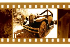 Old 35mm frame photo with usa ford retro car Royalty Free Stock Photos