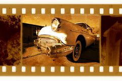 Old 35mm frame photo with USA retro car Royalty Free Stock Photos