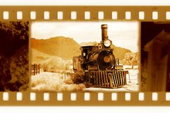 Old 35mm frame photo with vintage train. Old 35mm frame photo with vintage USA train Stock Image