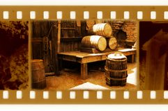 Old 35mm frame photo with vintage USA barrels Royalty Free Stock Photos