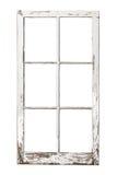 Old 6 pane window on white. Old weathered 6 pane window isolated on white stock photography