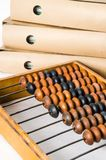 Old abacus and folders with documents royalty free stock images