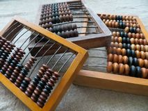 The old abacus, with the help of which produced all mathematical calculations in the middle of the last century stock photo