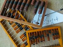 The old abacus, with the help of which produced all mathematical calculations in the middle of the last century royalty free stock photo