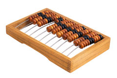 Old abacus lay on a white background Stock Photos