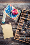 Old abacus and notes on math classes Royalty Free Stock Photo