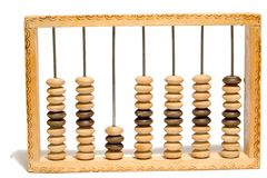Old abacus on white isolated background. Old abacus on the white isolated background Royalty Free Stock Images
