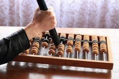 Old abacus wooden for the calculating. Tree, calculator Stock Photos