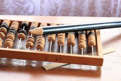 Old abacus wooden for the calculating stock photo