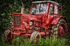 Old abandon red traktor in nature. stock photos