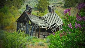Old Abandon School In Eastern Oregon. This old school near a ghost Town called  Shaniko Oregon Stock Photos