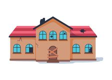 Old Abandonded House Cartoon Vector Illustration. Decaying Suburban Cottage With Broken Windows. Stock Image