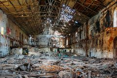 Free Old Abandoned And Ruined Red Brick Building Interior Of Former Sugar Factory In Ramon, Voronezh Region Royalty Free Stock Image - 160601376