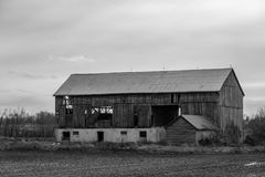 Abandoned barn. Old abandoned barn in Alliston Ontario Canada processed in black and white royalty free stock images