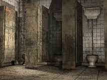 Old dirty toilets. Old abandoned bathroom with dirty toilets royalty free illustration