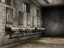 Ruined bathroom. Old abandoned bathroom with dirty walls Stock Photo