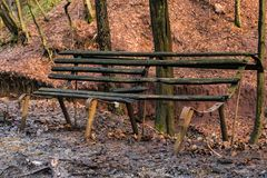 Old abandoned bench in the forest stock photography