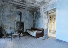 Old abandoned blue room Stock Images