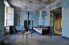 Old abandoned blue room Royalty Free Stock Photo