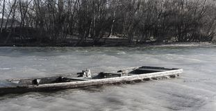 Forgotten:Old abandoned boat riverside in Hungary Royalty Free Stock Photography