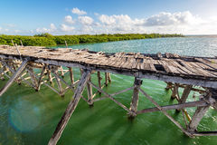 Old Abandoned Bridge. In the Sian Kaan Biosphere Reserve near Tulum, Mexico Stock Photo