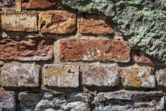 Old abandoned broken red brick wall. Old rustic red brick wall cracked weathered texture Royalty Free Stock Photography