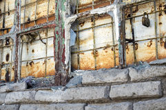 Old abandoned broken window background Royalty Free Stock Photo